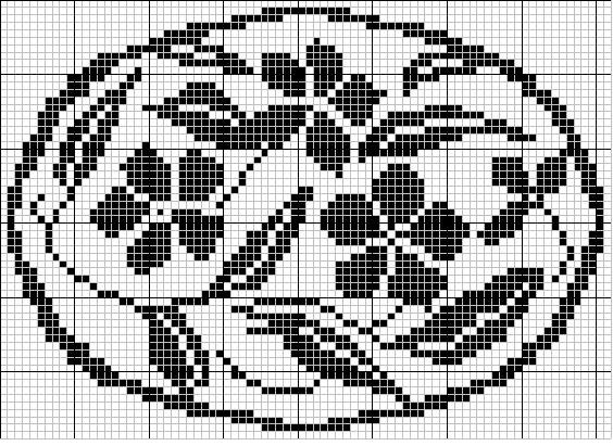 Oval 17 | Free chart for cross-stitch, filet crochet | gancedo.eu