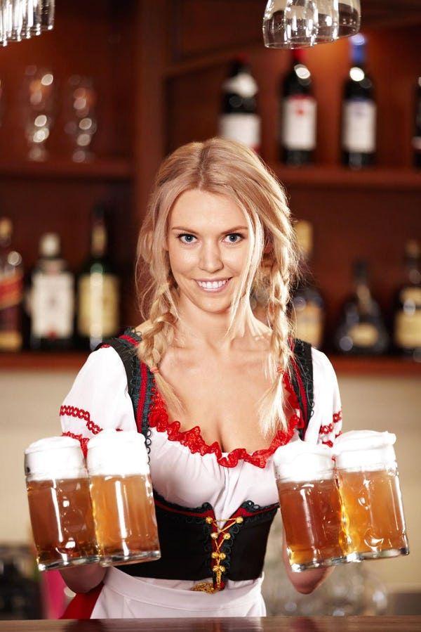 Oktoberfest beer girl cleavage