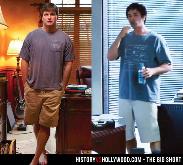 Michael Burry and his onscreen counterpart, Christian Bale, in 'The Big Short' movie. Learn more via our article 'The Big Short: History vs. Hollywood' here: http://www.historyvshollywood.com/reelfaces/big-short/