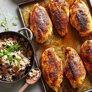 """Baked Chicken Breasts ~ Lime, garlic, coriander, salt, and chile pepper add a boost of flavor to these baked chicken breasts! (*skip the white rice and use """"riced"""" cauliflower instead)"""