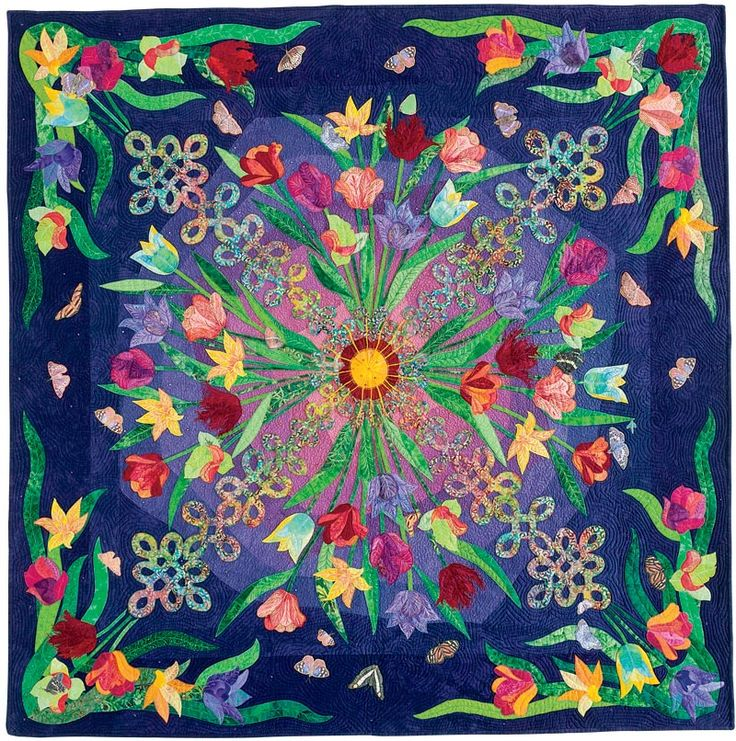 "Sunset over Keukenhof Garden, 60"" x 60"", 2005, by Jenny Raymond.  Featured at Quilters Newsletter."