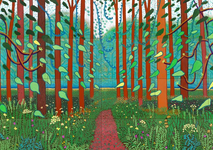 ❤ =^..^= ❤  When the David Hockney challenge came up I chose from the catalogue, the painting The Arrival of Spring in Woldgate Woods. I liked the vibrancy, energy and movement in the painting and those three elements are the inspiration for this quilt.