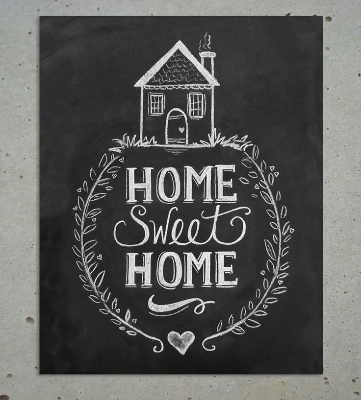"This ""Home Sweet Home"" chalk art print is a perfect addition to your shabby chic decor. It features whimsical hand lettering and a quirky cottage illustration. ♥ Our fine art chalkboard prints will br"