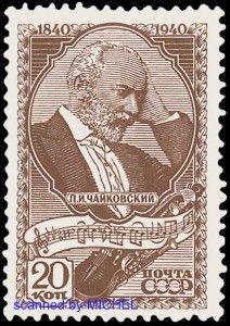Peter Tschaikowski auf Briefmarke aus der Sowjetunion von 1940