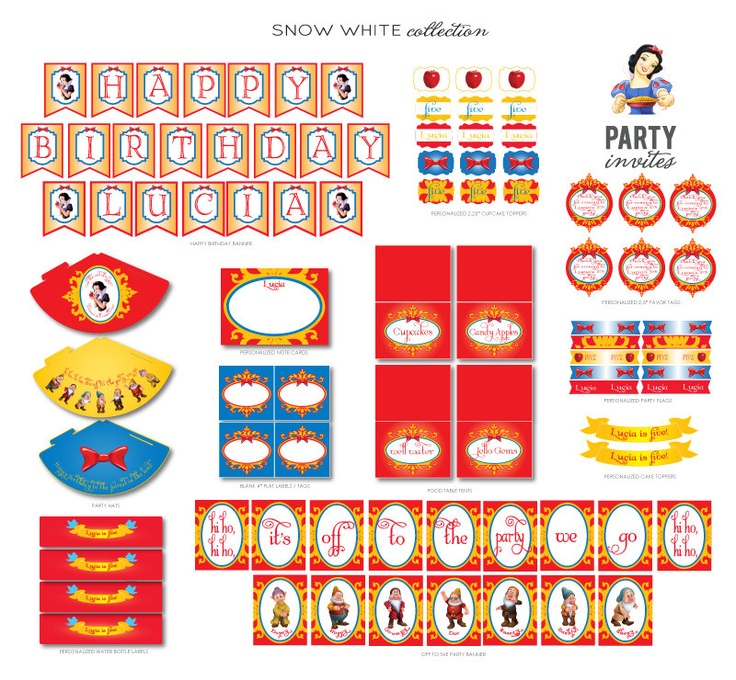 SNOW WHITE PARTY Personalized Package by partyinvites on Etsy