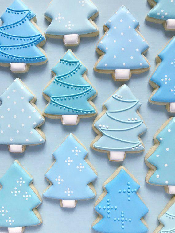 Christmas Tree Sugar Cookies Etsy Christmas Cookies Easy Christmas Cookies Decorated Christmas Sugar Cookies