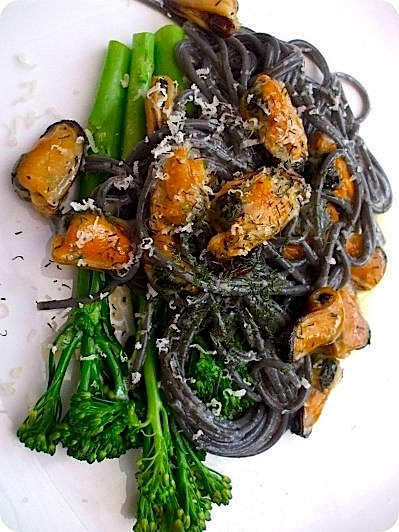 Dinner tonight -- bought some fresh squid ink fettucini the other day