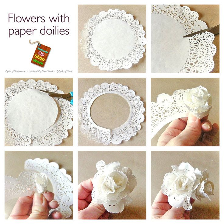 Simple paper flowers made from the outside ring of paper doilies.