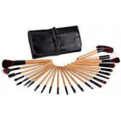 Glow set de 24 pinceles de maquillaje profesional (Wooden Black Case)