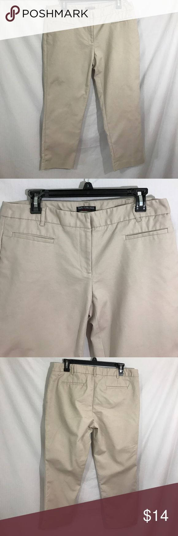 Dalia collections modern fit khaki capris 12 Like new Dalia collections modern fit khakis capris size 12 is a material that has a little stretch to it  inseam 23 EUC Dalia Pants Capris