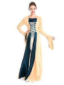 Traje Retro de mujer amarillo dos tonos Vestido de manga larga con encaje