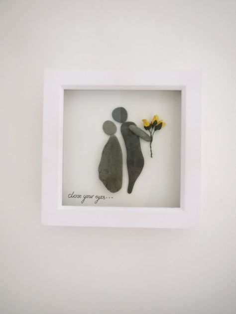 Pebble art, yellow flower, 'close your eyes', perfect gift for girlfriend's or wives.