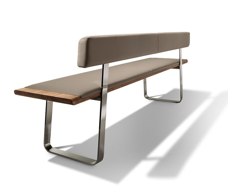 Nox wood, metal and coloured leather dining bench with back-rest