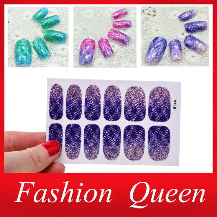 Градиент цвета искусства, 2 лист(ов) / lot блеск полное покрытие ногтя заплаты, Типсы наклейки для ногтей украшения инструмент