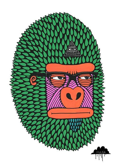 3 Mulga The Artist Harley the hipster http://mulgatheartist.tumblr.com/