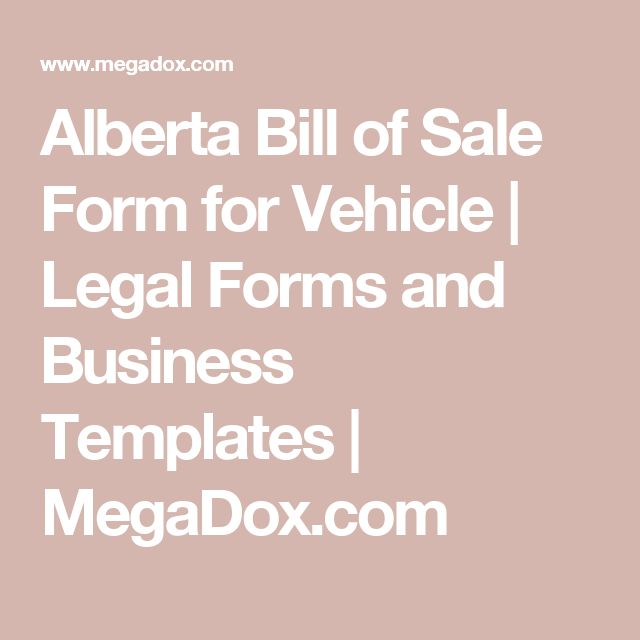 Alberta Bill of Sale Form for Vehicle | Legal Forms and Business Templates | MegaDox.com