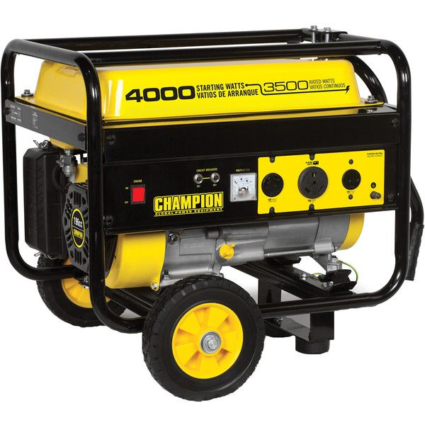 champion power equipment recoil start gasoline powered portable generator with wheel the home depot