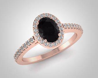 RE00174BK anillo de bodas de diamante oval negro diamante anillo de compromiso, 14K Rose conflicto Oval oro gratis blanco y negro