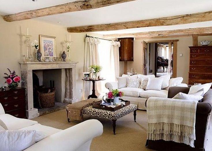 such a comfy english farmhouse living room