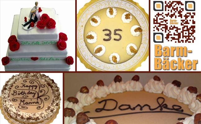 Auf Bestellung fertigen wir Ihre  Hochzeitstorte, individuell nach Ihren Wünschen. Geburtstagstorte mit Aufschrift und/ oder Foto, Feingebäck wie z.B. Kekse, Butterkuchen, Streuselkuchen, Mandelhörnchen, Rumkugeln, Flammende Herzen.