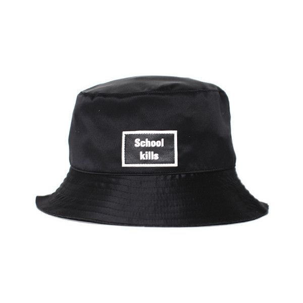 Hyein Seo Black Bucket Hat (770 BRL) ❤ liked on Polyvore featuring accessories, hats, bucket hat, silk hat, fishing hat, fisherman hat and patch hat