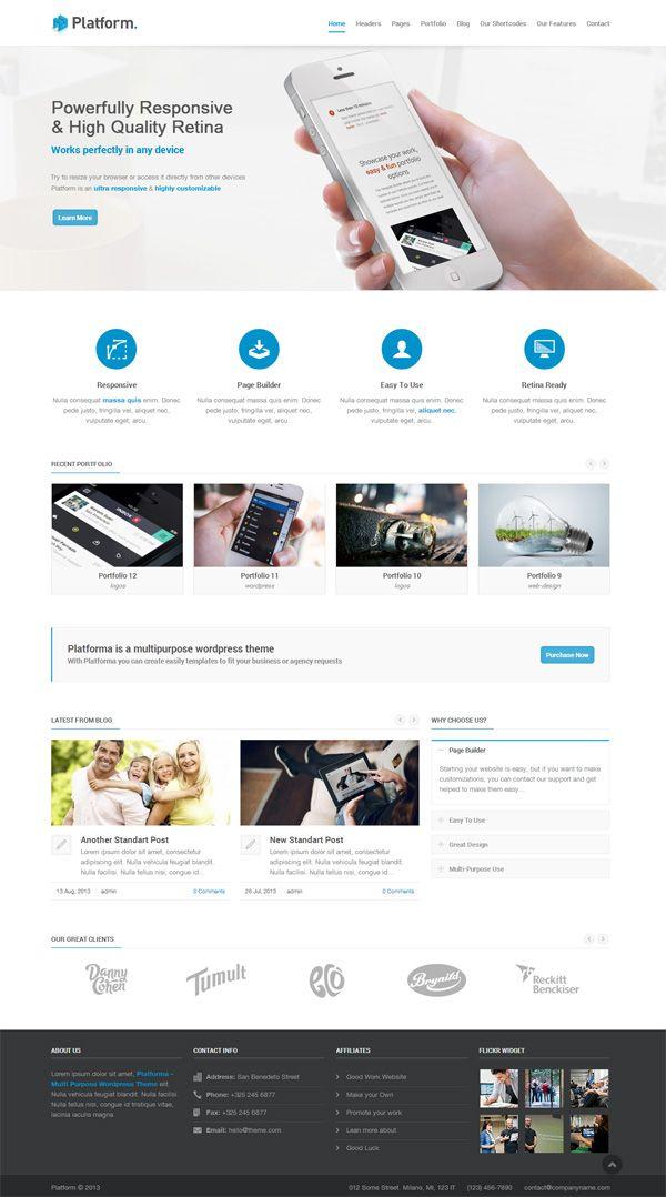 Platforma - Responsive Multi-Purpose Theme #wordpressthemes #responsivewordpressthemes #flatdesign #responsivedesign