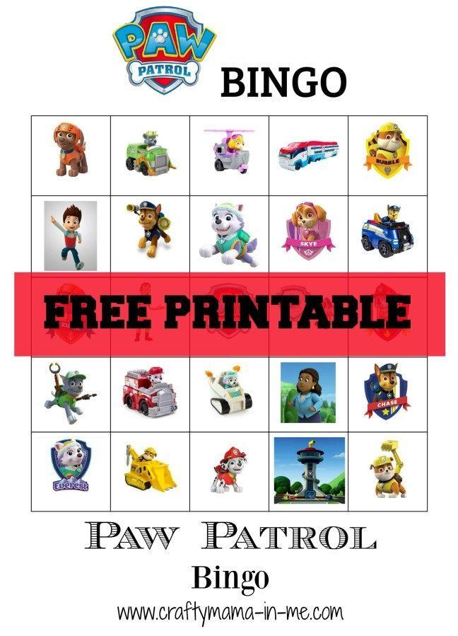 Free Printable Paw Patrol Bingo - Crafty Mama in ME!