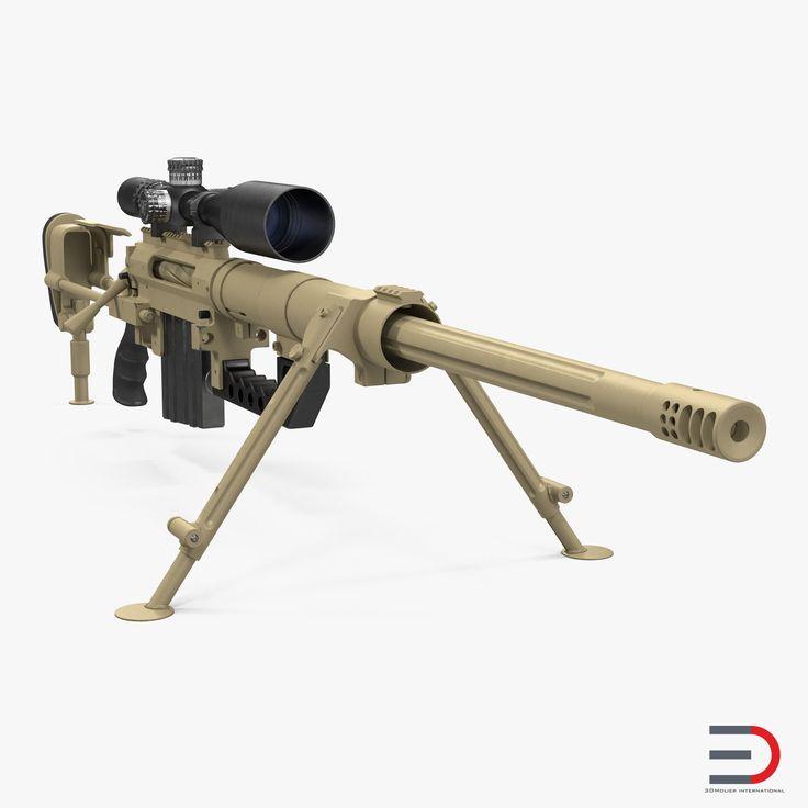 CheyTac M200 Long Range Sniper Rifle System Desert 3D model
