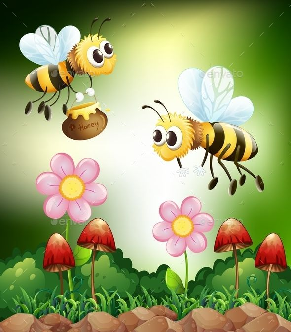 Bee and Honey (JPG Image, Vector EPS, CS, animal, antenna, bee, bees, bug, cartoon, creature, flower, flowers, fly, flying, food, honey, insect, jar, landscape, liquid, living, mushroom, nature, nectar, outdoors, outside, picture, pot, scene, scenery, scenic, sweet, working bees)