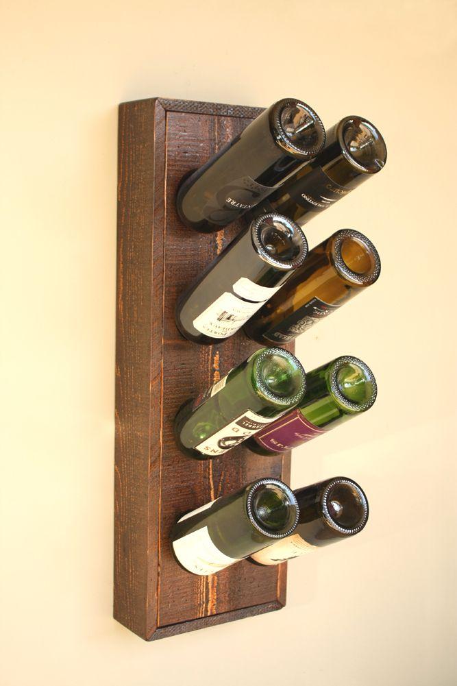 Wine Riddling Rack - 8 Bottle Holder Storage Display Burned Barn Color - Home Decor Creations