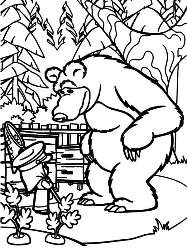 Masha and the Bear Rabbit Caught in the Act Coloring Pages | Color ...