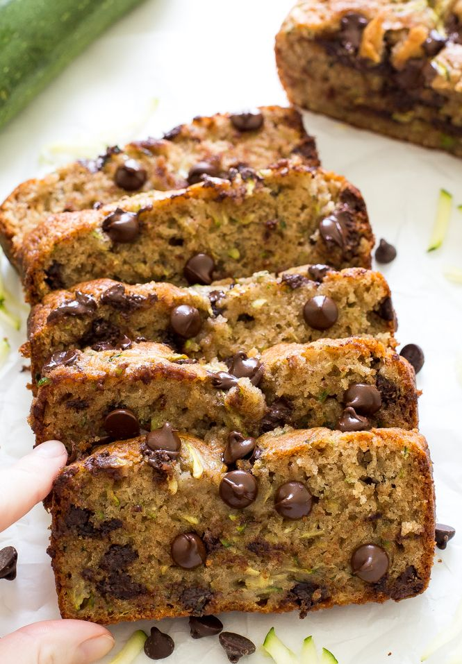 Chocolate Chip Zucchini Bread. Super moist, soft and loaded with chocolate chips! A great way to use up zucchini and get in protein with Greek Yogurt.