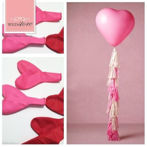 globos forma de corazón con helio y flecos
