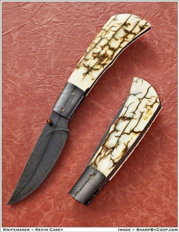 Feather Damascus Blade and Mammoth Ivory823A    Kevin Casey Custom Knives