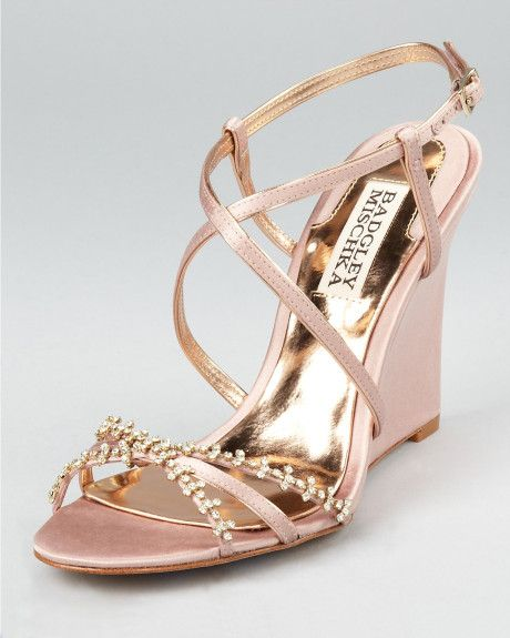 Gold Wedge Sandals: Gold Wedge Evening Sandals