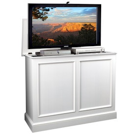 Carousel White TV Lift Cabinet Product Photo  - Could be useful for placing TV in front of window w/o blocking view.