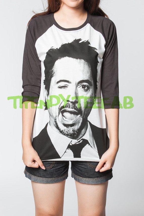 Robert Downey Jr Shirt Baseball RDJ Iron Man T-Shirt Long Sleeve Women Tshirt Jersey Unisex T Shirts Size S , M , L , XL