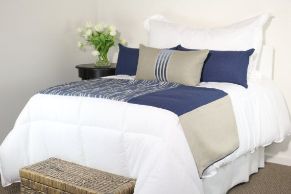 Blue Grey U0026 Khaki Modern Bedding Set With Bed Scarf And 3 Pillows By  Fabrinique @