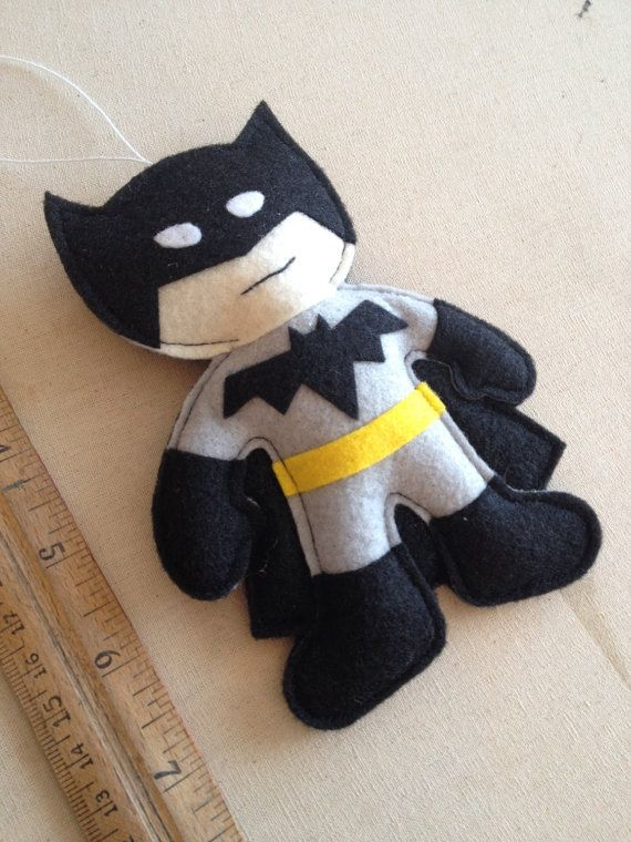 "Batman Christmas ornament! Found on HebCrafts Etsy store. Gotta love superheros :) These handcrafted felt ornaments measure about 6"" tall with about a 3"" loop to hang them with. Price is for each hero."