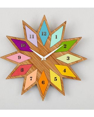 Chromatic Bamboo Wall Clock What would this look like as twelve pointed star with lozenges/shapes radiating off,
