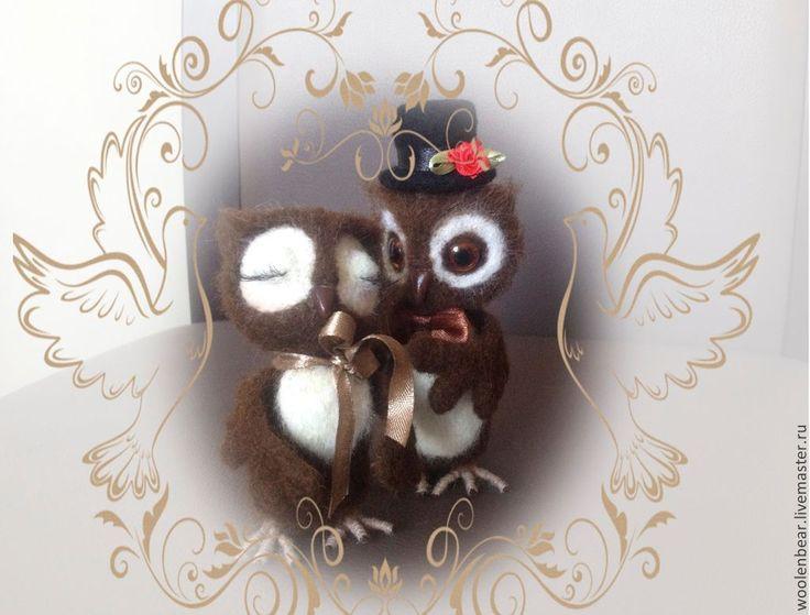 Влюбленные совы - коричневый,сова,влюбленные,влюбленная пара,игрушка ручной работы