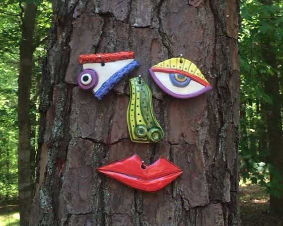 Picasso Tree Face  Garden Art Yard or Fence Art  In by tlgpottery, $46.00: