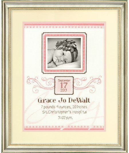 baby girl announcement cross stitch with photo