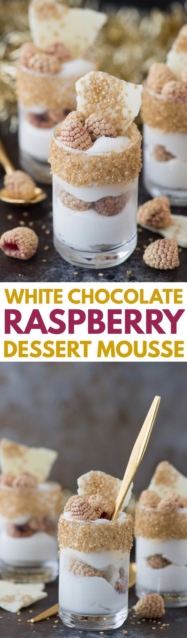 This easy white chocolate raspberry dessert mousse is the perfect gold dessert for New Year's Eve!
