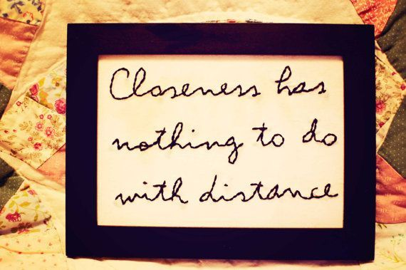 long distance quote hand stitched in a frame-long distance, friendship, love,gift,relationship,family, college, military, friend, loved one