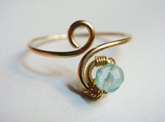 Gold Ring  Blue Topaz Knuckle Ring   Blue Topaz by SpiralsandSpice