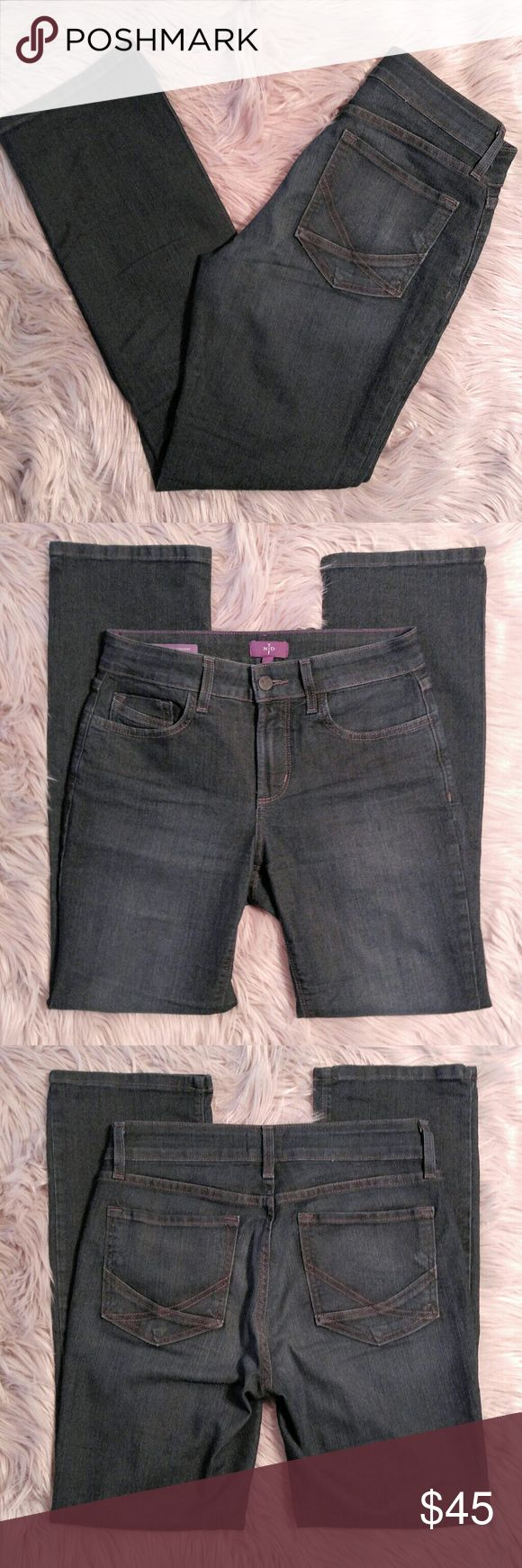 """NYDJ Dark Wash Marilyn Straight Cut Jeans NYDJ Dark Wash Marilyn Straight Cut Jeans Size 4P with a 14"""" waist and 28"""" inseam. These are in EUC and curve hugging. NYDJ Jeans Straight Leg"""