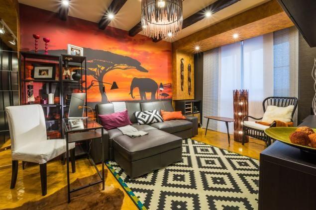 Nappali átalakítás és új dekoráció afrikai-etnikai témával, barna, sárga, narancs árnyalatokkal