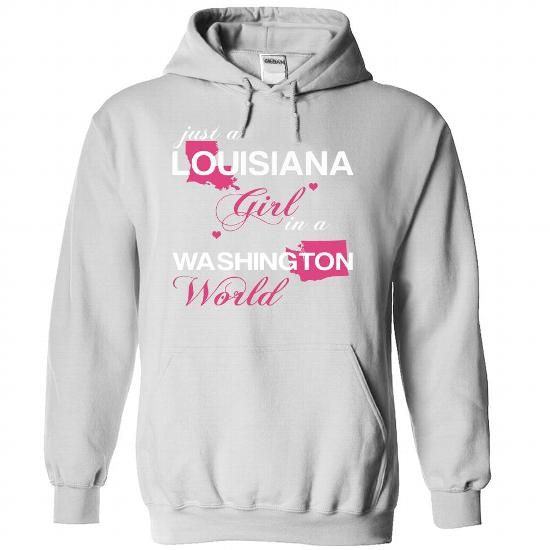 (LAJustHong001) Just A Louisiana Girl In A Washington W - #gifts for guys #christmas gift. LIMITED AVAILABILITY => https://www.sunfrog.com/Valentines/-28LAJustHong001-29-Just-A-Louisiana-Girl-In-A-Washington-World-White-Hoodie.html?68278