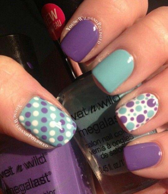 Mint & Purple Polka Dot Nails